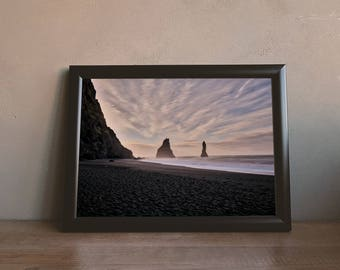 Stunning Clouds on the Black Beach in Iceland Printable Wall Art Digital Download