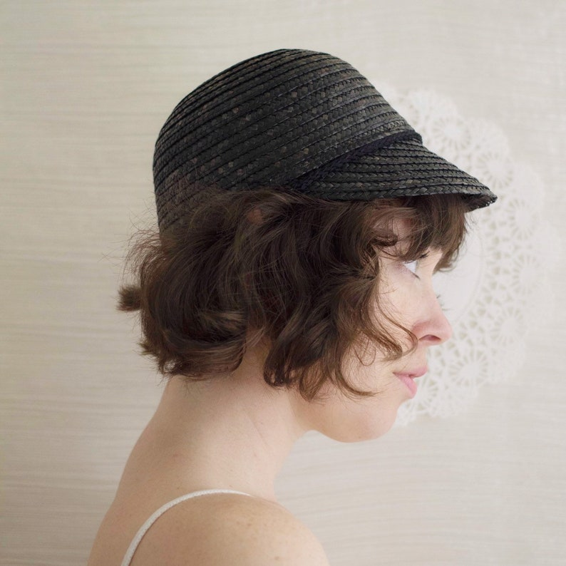 1990s does 1920s Black Straw Cloche with Petite Brim and Rounded Silhouette