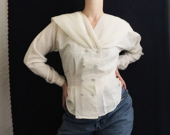 1980s Ivory Pleated Collar Double Breasted Blouse