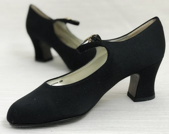 1990s Black Satin Mary Jane Heels by Touch of Nina