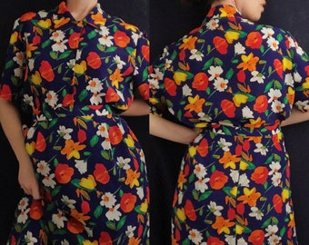 Early 90s Matching Top and Skirt Set with Bright Florals by Vintage Patchington