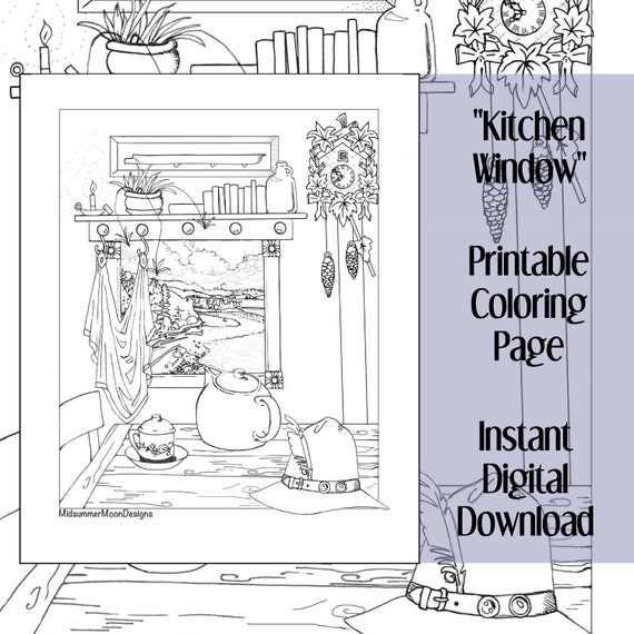 Printable Kitchen Window Coloring Page Etsy