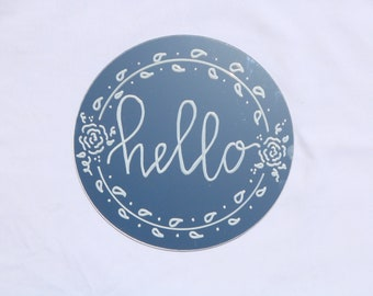 "Painted Mirror | ""Hello"""