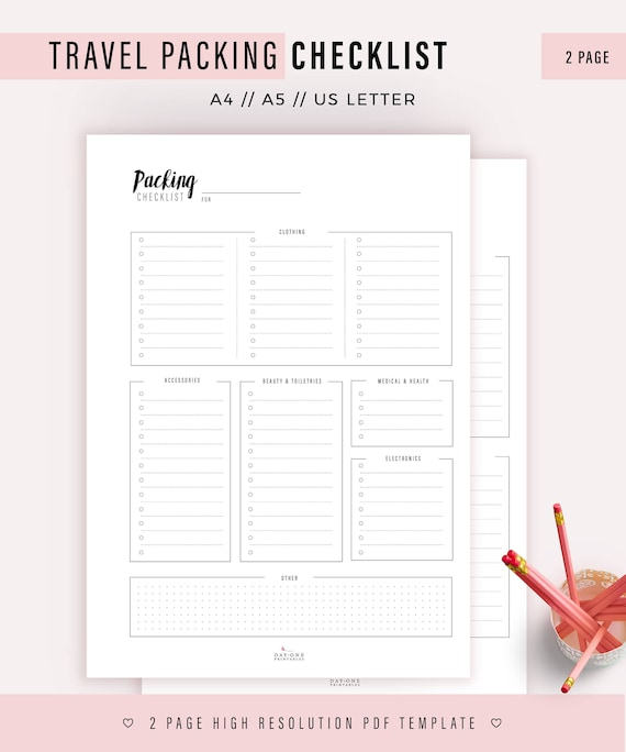 travel checklist traveller packing checklist vacation packing etsy