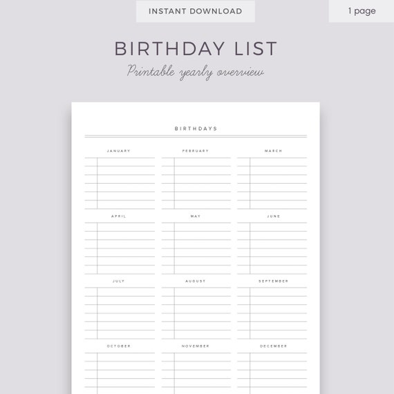 graphic about Birthday List Printable identified as Birthday Calendar Printable Checklist, Birthday Building Quick Down load, Birthday Organiser