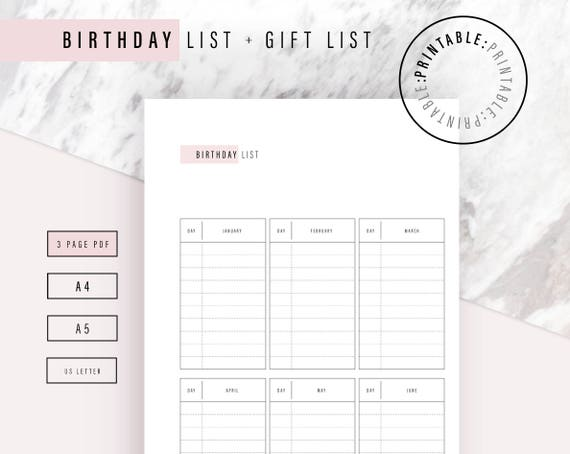 birthday list printable 3 page birthday and gift list a4 etsy