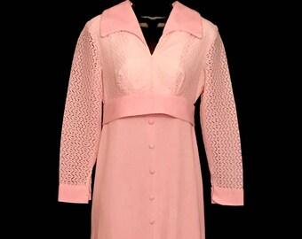 60s Pretty in Pink Maxi Hostess Dress     LV0055