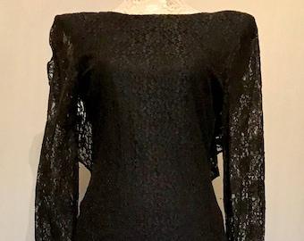 Vintage 70s Black Lace Drop Back Evening Gown          LV0084
