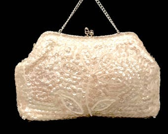 50s Opalescent Sequin and Pearl Evening Bag    LV0049