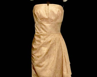 90s Gold and Cream Brocade Strapless Formal Dress    LV0074