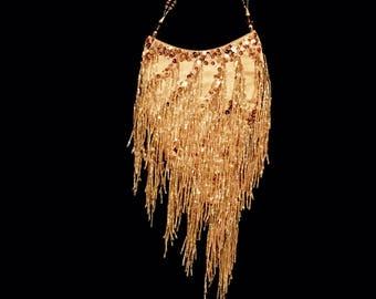 70s Vintage Gold Beaded Fringe Evening Bag by Jessica McClintock   LV0045