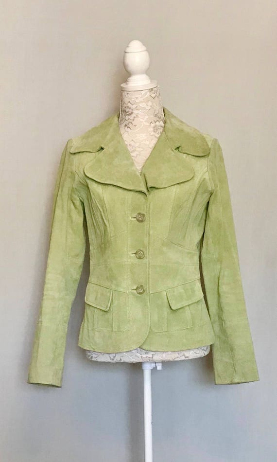 70's Meadow Green Suede Jacket       LV0096