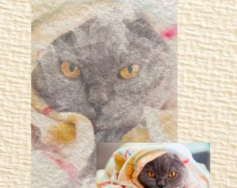Printable watercolar portrait of Your pet / Cat portrait / Pet portrait