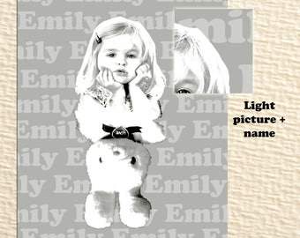 Nursery prints / Custom printable portrait / personalized gift / Your kid and his favorite toy portrait / personalized gift for girl