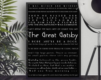 Instant Download The Great Gatsby Quote Print, Literary Art Poster, wall decor, Printable F Scott Fitzgerald book decor, Black & White Art