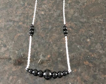 Black Beaded Long Necklace