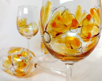 Hand Painted Wine Glasses. Set of 4. Yellow Poppies.