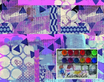 Painted Paper Collage Sheets Digital Download