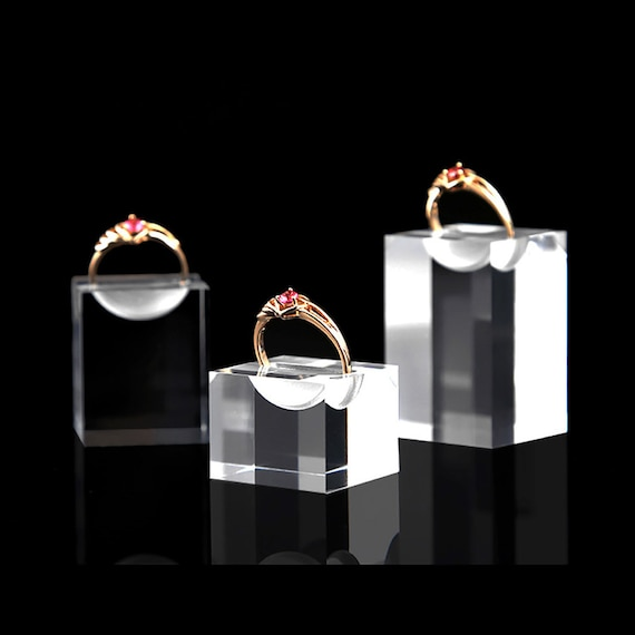 Ring Cone Holder Clear Jewelry Display Stands Simple Elegant Fine Presentation Practical Premium Quality Set of 3 PCs