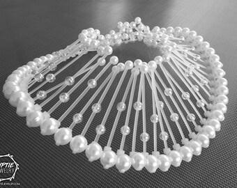 Pearl Necklace White Collar / Zip tie Futuristic necklace / Avant garde pearl Necklace / Contemporary Jewelry
