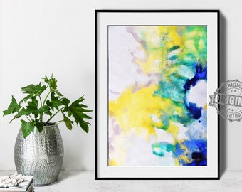 Abstract Painting, Printable Art Prints, Modern Art Large Poster, Bedroom Art Decor, Navy Blue, Yellow, Green - Mint Fine Art No.M198