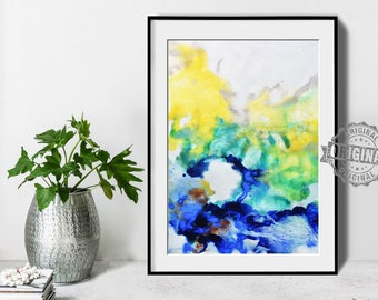 Abstract Painting, Printable Art Prints, Modern Art Large Poster, Bedroom Art Decor, Navy Blue, Yellow, Green - Mint Fine Art No.M200