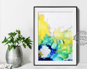 Abstract Painting, Printable Art Prints, Modern Art Large Poster, Bedroom Art Decor, Navy Blue, Yellow, Green - Mint Fine Art No.M194