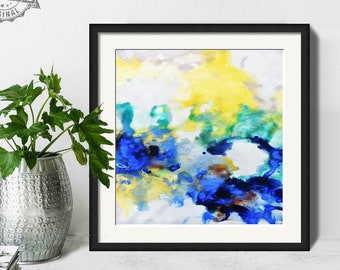 Abstract Painting, Printable Art Prints, Modern Art Large Poster, Bedroom Art Decor, Navy Blue, Yellow, Green - Mint Fine Art No.M201