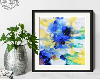 Abstract Painting, Printable Art Prints, Modern Art Large Poster, Bedroom Art Decor, Navy Blue, Yellow, Green - Mint Fine Art No.M196