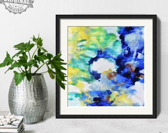 Abstract Painting, Printable Art Prints, Modern Art Large Poster, Bedroom Art Decor, Navy Blue, Yellow, Green - Mint Fine Art No.M199