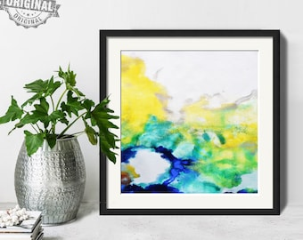 Abstract Painting, Printable Art Prints, Modern Art Large Poster, Bedroom Art Decor, Navy Blue, Yellow, Green - Mint Fine Art No.M195