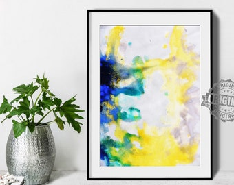 Abstract Painting, Printable Art Prints, Modern Art Large Poster, Bedroom Art Decor, Navy Blue, Yellow, Green - Mint Fine Art No.M197