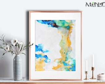 Abstract Painting, Printable Art Prints, Modern Art Large Poster, Bedroom Art Decor, Navy Blue, Orange, Green - Mint Fine Art No.M189A