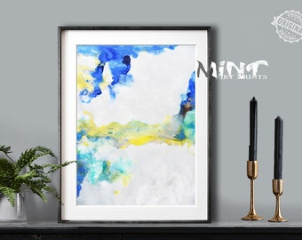 Abstract Painting, Printable Art Prints, Modern Art Large Poster, Bedroom Art Decor, Navy Blue, Yellow, Green - Mint Fine Art No.M191