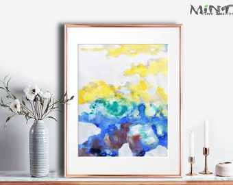 Abstract Painting, Printable Art Prints, Modern Art Large Poster, Bedroom Art Decor, Navy Blue, Yellow, Green - Mint Fine Art No.M193