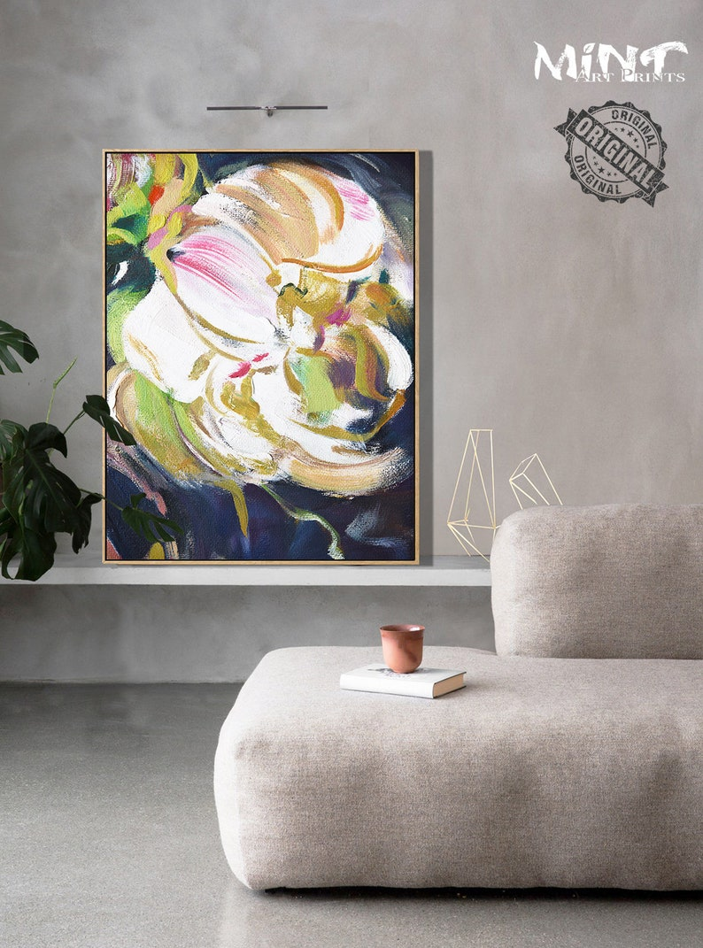 Abstract Flower Painting Floral Art Prints Digital Download Art Mint Fine Art No.M124 Bedroom Wall Decor