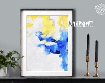 Abstract Painting, Printable Art Prints, Modern Art Large Poster, Bedroom Art Decor, Navy Blue, Gray, Yelllow - Mint Fine Art No.M183