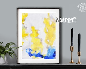 Abstract Painting, Printable Art Prints, Modern Art Large Poster, Bedroom Art Decor, Navy Blue, Gray, Yellow - Mint Fine Art No.M184