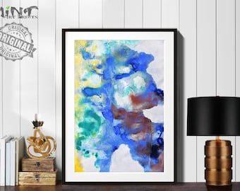Abstract Painting, Printable Art Prints, Modern Art Large Poster, Bedroom Art Decor, Navy Blue, Brown, Yellow, Green - Mint Fine Art No.M187