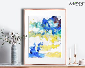 Abstract Painting, Printable Art Prints, Modern Art Large Poster, Bedroom Art Decor, Navy Blue, Yellow, Green - Mint Fine Art No.M192