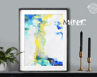 Abstract Painting, Printable Art Prints, Modern Art Large Poster, Bedroom Art Decor, Navy Blue, Yellow, Green - Mint Fine Art No.M189