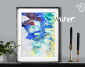 Abstract Painting, Printable Art Prints, Modern Art Large Poster, Bedroom Art Decor, Navy Blue, Brown, Yellow, Green - Mint Fine Art No.M188