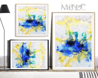 Abstract Painting, Printable Art Prints, Modern Art Large Poster, Bedroom Art Decor, Navy Blue, Yellow, Green - Mint Fine Art No.M202