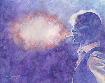 "Original Watercolor Painting - ""Bowie 5: Smoke"""