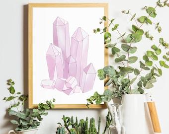 Rose Quartz Crystal - Digital Drawing