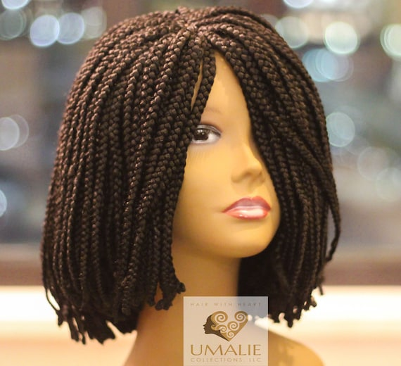 Hand Braided Short Bob Style Black Synthetic Wig Crochet Etsy