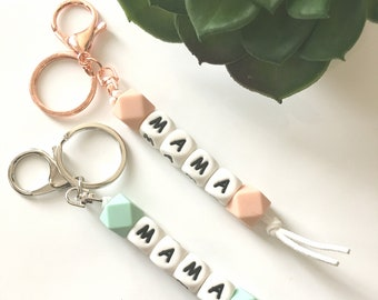 Mama Keychain Silicone Beads Purse Clip Baby Gift Mother's Day Teething Modern Jewelry