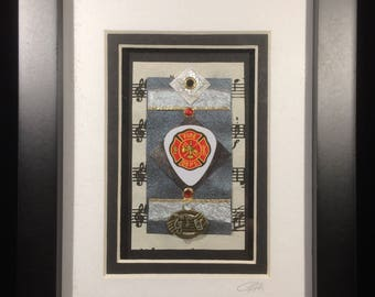 Firefighters Upcycled Guitar Pick Art