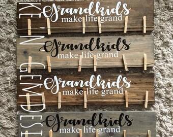 Wooden GrandKIDS GrandPARENTS Photo Display Board Sign