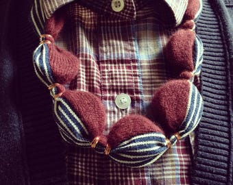Repurposed Vintage Cashmere & Denim Necklace